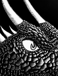 Dragon Eye, Scratchboard
