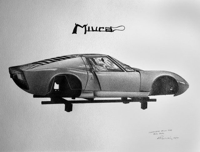 Lamborghini Mirua P 400 by Audrius Pauliukonis - Pencil on Paper