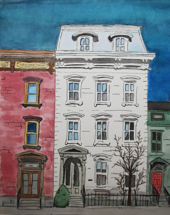 House on Main Street by Connor Bell - Watercolor & Pen & Ink