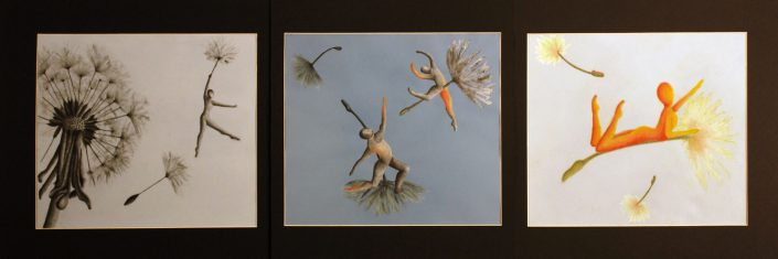 First Flight Triptych by Jessica Goudreault - Charcoal & Pastel on Paper
