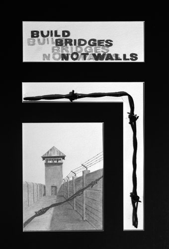 Build Bridges-Not Walls by William Matthew Fowler - Pencil and Mixed Media on Paper