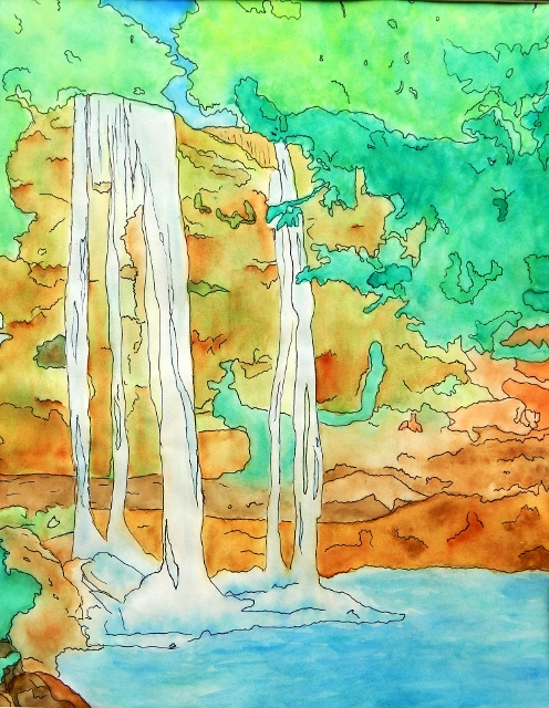 Misol-ha Falls by Jess Ohrenberger - Watercolor