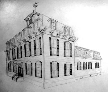 Pinkham Hall by Megan Hoover - Pencil on Paper