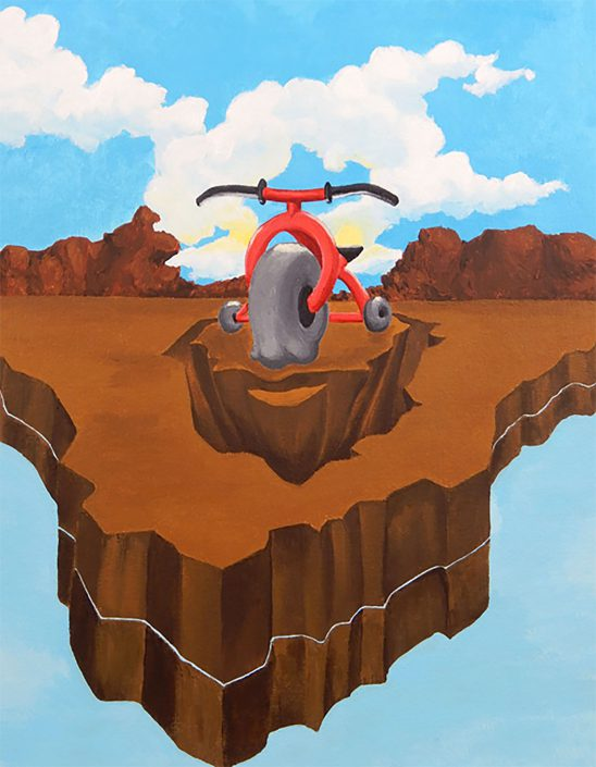 Disintegrading Island with Melting Red Tricycle by Ryu Kondrup - Acrylic