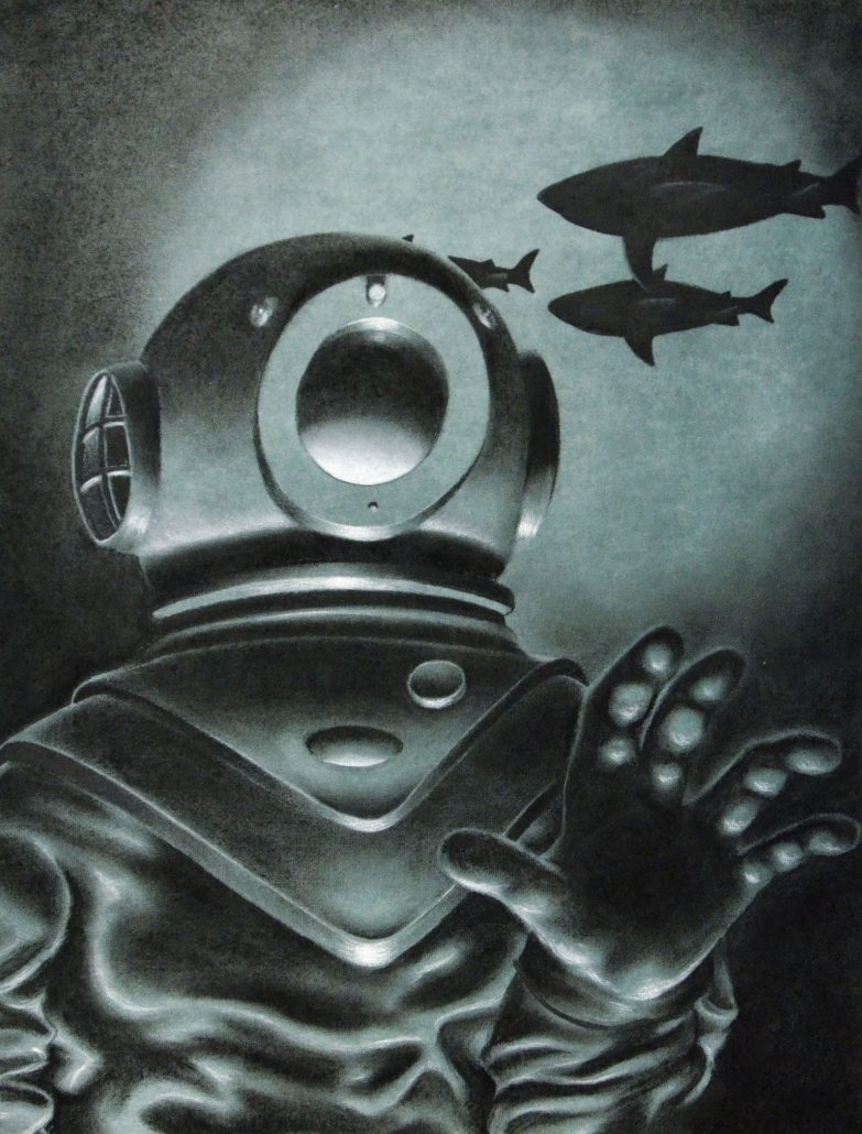 <em>Phantom of the USS Squalus</em> by Ryu Kondrup, Charcoal Drawing