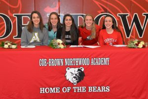 A CBNA recent signing day for student athletes (Left to Right) Megan Scannell, Elisabeth Danis, Julia Cormier, Megan Spainhower and Brooke Laskowsky