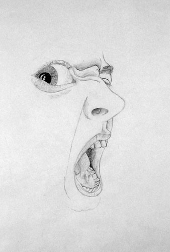 The Sneer by Tras Berg - Pencil on Paper