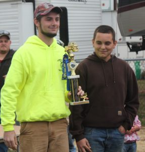 CBNA FFA students Hunter Tetu (left) and Caleb Rollins celebrate their first place win in the Deerfield Fair Tractor Driving Competition.