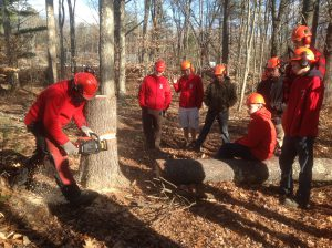 Mr. Dan Tilton instructs CBNA FFA students in a recent chainsaw safety course on the CBNA Campus.