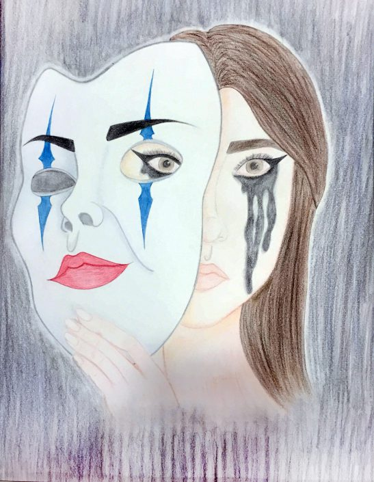 Behind a Mask by Emily Marie Hiding - Colored Pencils