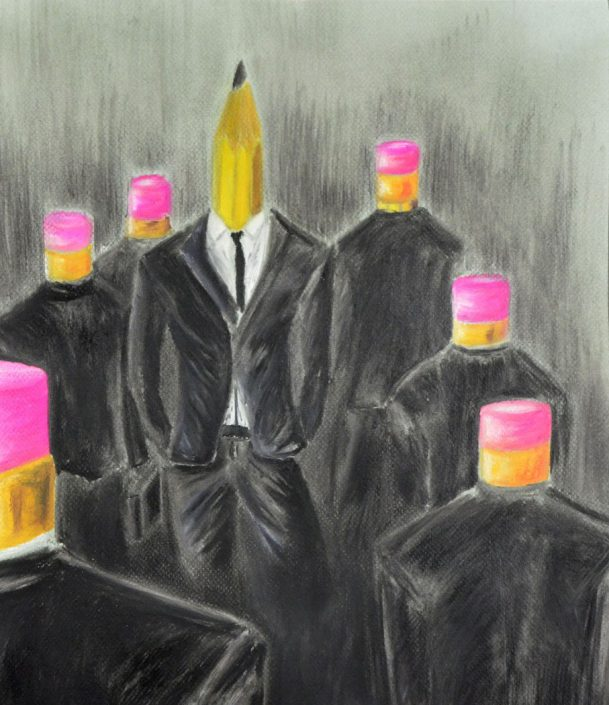 Honorable Mention: Against the Grain, by Gage Desrosiers - Pastel on Paper (Drawing - Mr. Unrein)