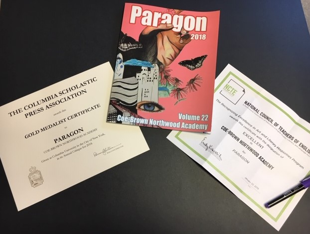 Image of Paragon Issue 22 on a table with two awards on either side of it