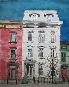 "Connor Bell – House on Main Street – Watercolor & Pen & Ink – 18"" x 15"""