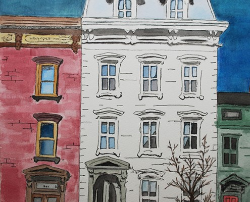 """Connor Bell – House on Main Street – Watercolor & Pen & Ink – 18"""" x 15"""""""