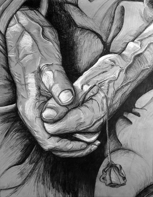 Journey's End by Alison Freeman - Charcoal on Gray Paper