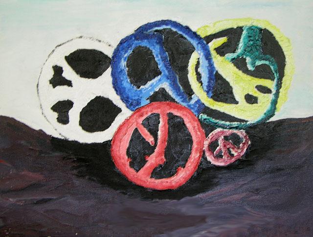 Broken Peace's by Allison Corning - Oil on Canvas Board