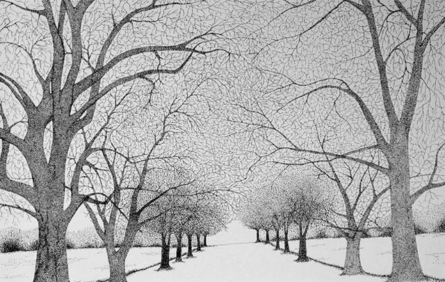 Snowy Evening by Carly Popovich - Pen & Ink on Paper