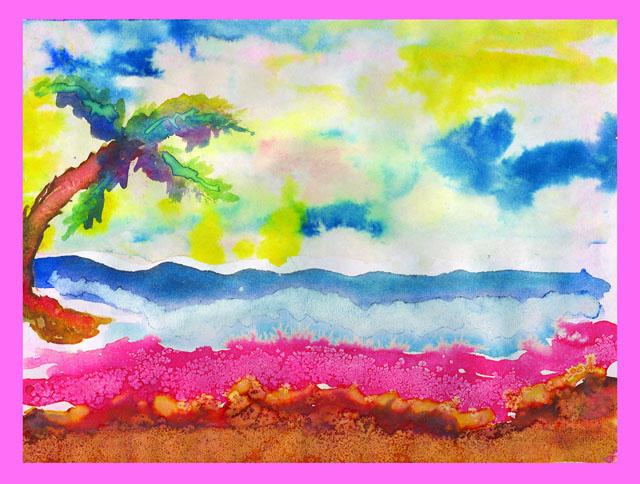 South of Bikini by Danielle Mule' - Watercolor on Paper
