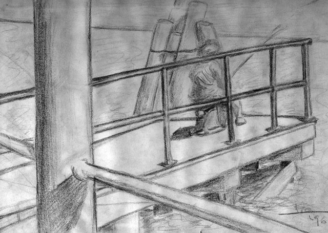 Fishing Day by Eva Gomez-Sardina - Pencil on Paper