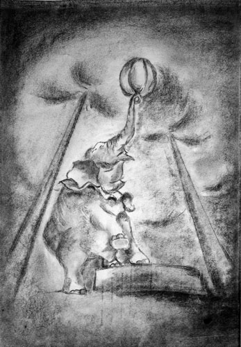 Under the Big Top by Melanie Carbonneau - Charcoal on Paper