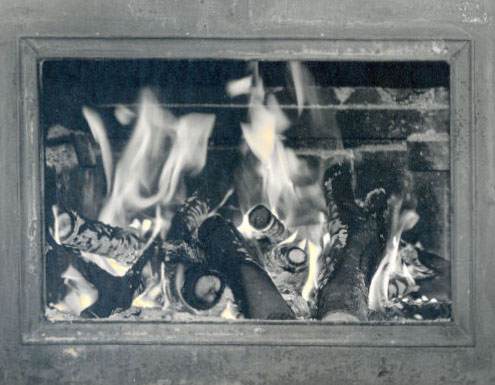 Fireplace by Melissa Demers - Hand Tinted B & W Photograph