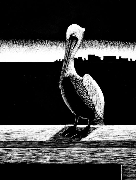 Gold Key: Perched. by Christen Gallant - Scratchboard (Drawing & Illustration - Mr. Unrein)