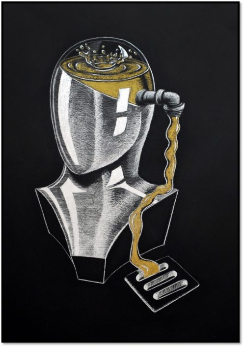 Gold Key: Memory Loss, by Ryu Kondrup - White Charcoal on Black Paper (Drawing - Mr. Chatfield)
