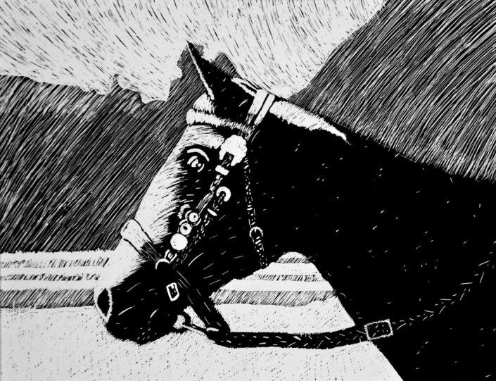 Honorable Mention: Shocking Impulse Bri, by Kellyn Flanagan - Scratchboard (Drawing & Illustration - Mr. Unrein)