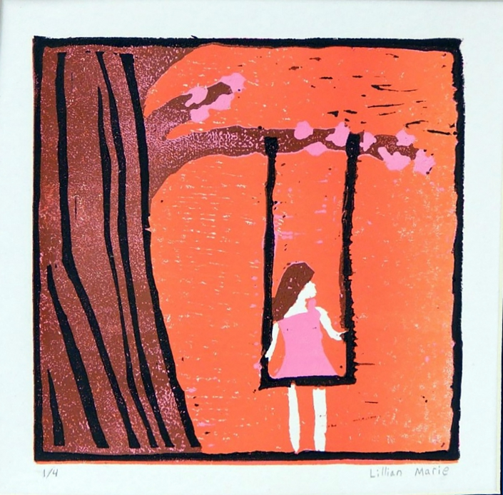 Cherry Blossom Swing by Lillian Marie - Linoleum Reduction Block Print